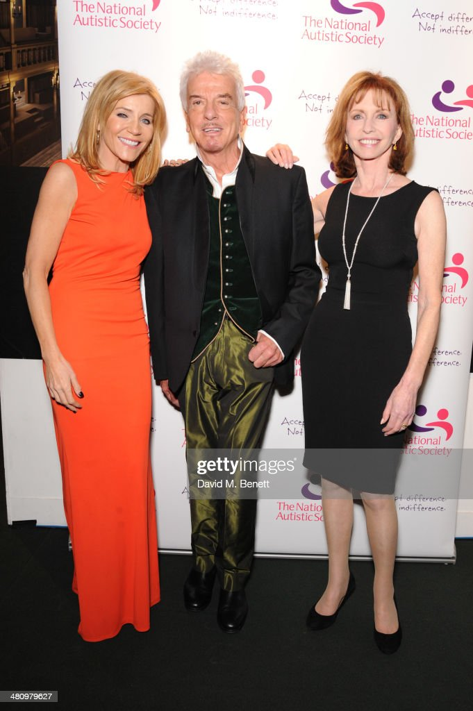 Michelle Collins, Nicky Haslam and Jane Asher attend Spectrum 2014, an annual fundraising event in support of the National Autistic Society to launch World Autism Awareness Month, in the Underglobe at Shakespeare's Globe on March 27, 2014 in London, England.