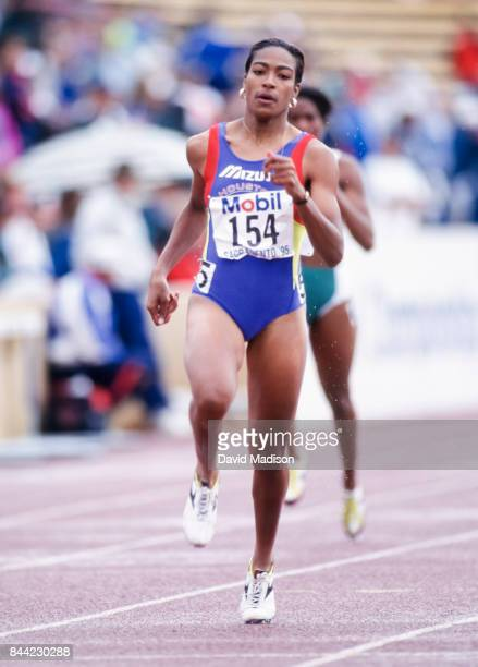 Michelle Collins of the USA competes in the Women's 400 meter event of the 1995 USA Outdoor Track and Field Championships held in June 1995 at Hornet...
