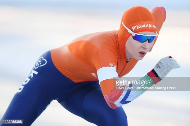 Michelle de Jong of the Netherlands competes during the Ladies 500M sprint race Day two of Junior World Cup Speed Skating at the Oulunkylaen...