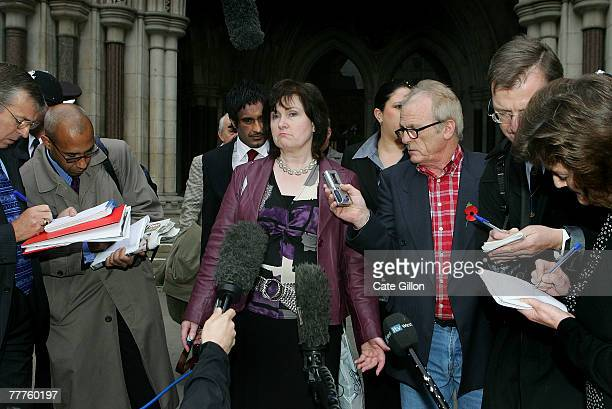 Michelle Diskin speaks to the press outside the High Court on the last day of her brother Barry George's appeal against his conviction on November 7...
