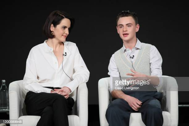 Michelle Dockery and Jaeden Martell of Defending Jacob speak onstage during the Apple TV segment of the 2020 Winter TCA Tour at The Langham...