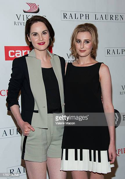 Michelle Dockery and Laura Carmichael attends the PBS History's 'Downton Abbey' Season 4 Photo Call at The Beverly Hilton Hotel on August 6 2013 in...