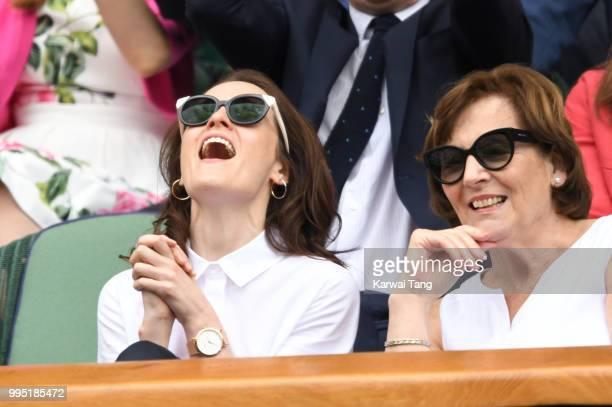 Michelle Dockery and Lorraine Dockery attend day eight of the Wimbledon Tennis Championships at the All England Lawn Tennis and Croquet Club on July...