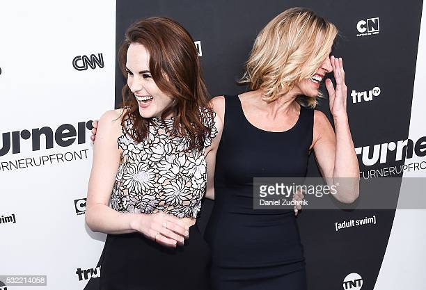 Michelle Dockery and Luisa Strus attend the 2016 Turner Upfront at Nick Stef's Steakhouse on May 18 2016 in New York New York