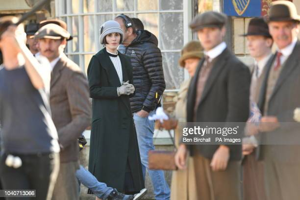 Michelle Dockery and other cast members on the Downton Abbey film set in Lacock Wiltshire