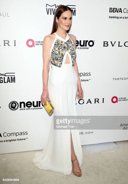 Michelle Dockery arrives at the 25th Annual Elton John AIDS Foundation's Oscar viewing party held at The City of West Hollywood Park on February 26...