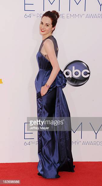 Michelle Dockery arrives at the 64th Primetime Emmy Awards at Nokia Theatre LA Live on September 23 2012 in Los Angeles California