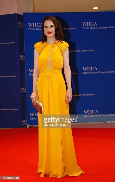 Michelle Dockery arrives for the 102nd White House Correspondents' Association Dinner in Washington DC on April 30 2016 / AFP / Andrew Biraj