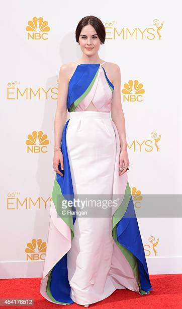 Michelle Dockery arrives to the 66th Annual Primetime Emmy Awards at Nokia Theatre LA Live on August 25 2014 in Los Angeles California