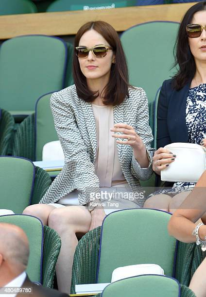 Michelle Dockery attends day 12 of the Wimbledon Tennis Championships at Wimbledon on July 11 2015 in London England