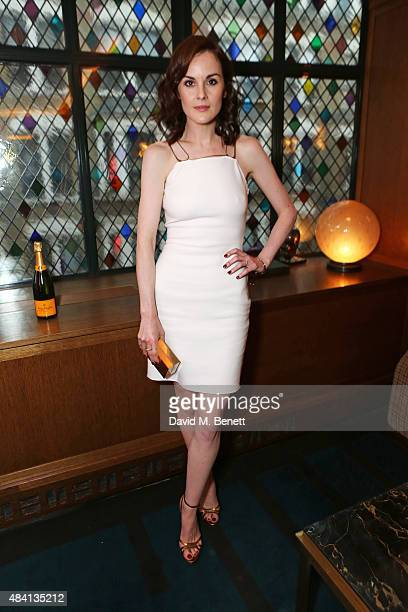 Michelle Dockery attends the Downton Abbey wrap party at The Ivy on August 15 2015 in London England