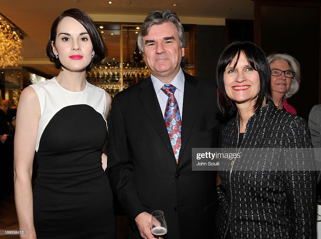 Michelle Dockery, Bob Peirce and Sharon Harroun Peirce attend a Golden Globe lunch hosted by BritWeek chairman Bob Peirce honoring Julian Fellowes, Gareth Neame and Michelle Dockery at Four Seasons Hotel Los Angeles at Beverly Hills on January 12, 2013 in Beverly Hills, California.