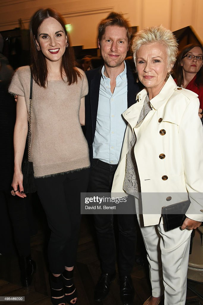 Michelle Dockery, Christopher Bailey and Julie Walters attend the Burberry Festive film premiere at 121 Regent Street on November 3, 2015 in London, England.