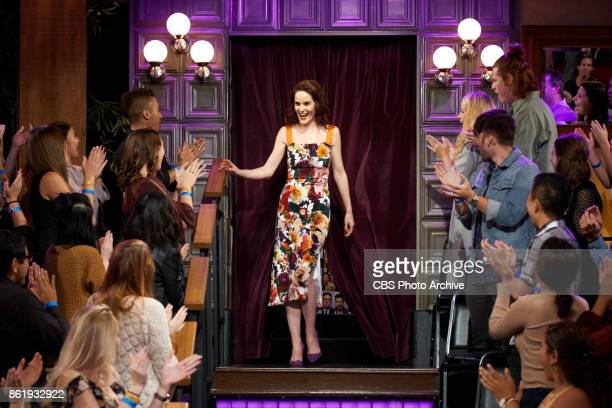 Michelle Dockery greets the audience during The Late Late Show with James Corden Wednesday October 11 2017 On The CBS Television Network