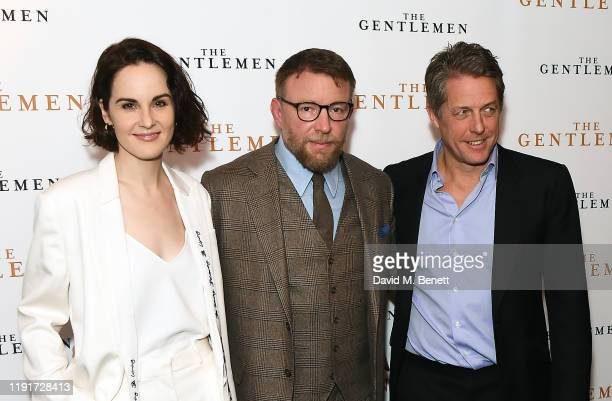 Michelle Dockery Guy Ritchie and Hugh Grant attend a special screening of The Gentlemen at The Curzon Mayfair on December 03 2019 in London England