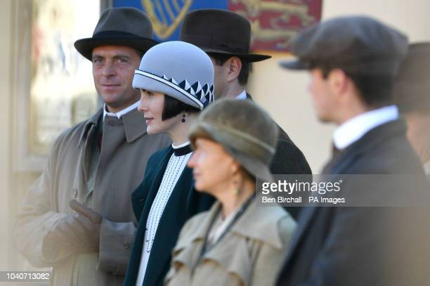 Michelle Dockery is joined by Stephen Campbell Moore on the Downton Abbey film set in Lacock Wiltshire