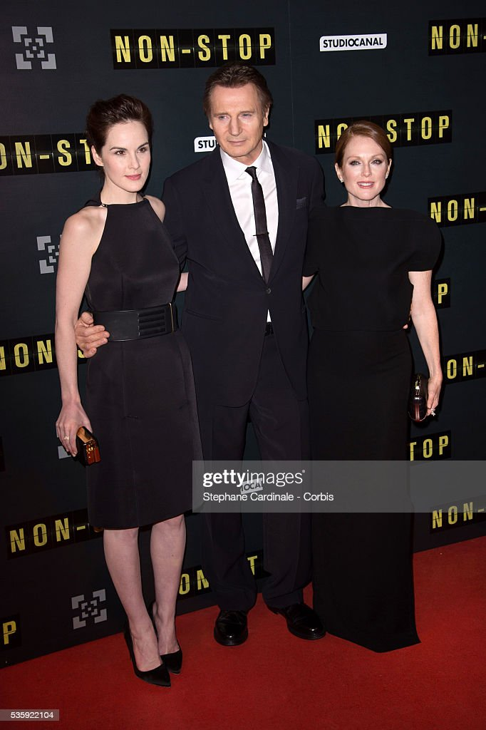 Michelle Dockery, Julianne Moore and Liam Neeson attend the 'Non Stop' Paris Premiere at Cinema Gaumont Opera, in Paris.