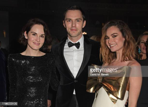 Michelle Dockery Nicholas Hoult and Lily James attend the VIP dinner at The Fashion Awards 2019 held at Royal Albert Hall on December 2 2019 in...