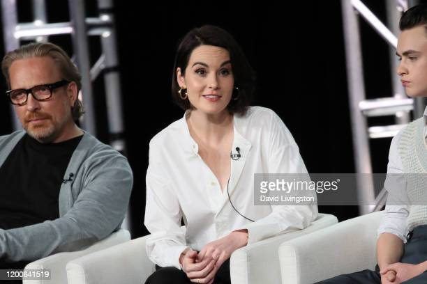 Michelle Dockery of Defending Jacob speaks onstage during the Apple TV segment of the 2020 Winter TCA Tour at The Langham Huntington Pasadena on...