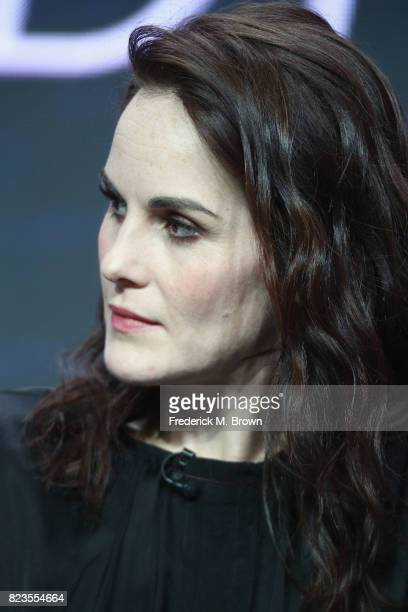 Michelle Dockery of 'TNT TBS's Leading Women of Comedy and Drama' speaks onstage during the Turner Networks portion of the 2017 Summer Television...