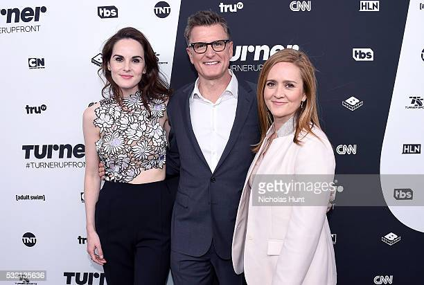 LR_ Michelle Dockery of TNT's Good Behavior President of TBS TNT and Chief Creative Officer of Turner Kevin Reilly and Samantha Bee of TBS's Full...