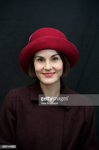 "Michelle Dockery on the ""Downton Abbey"" set at Highclere Castle on February 16, 2015 in Newbury, England."