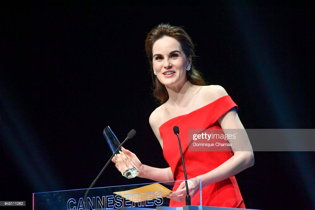 Michelle Dockery poses with the Variety Icon Award at the Launch of the Official Competition and 'The Truth About The Harry Quebert Affair' screening during the 1st Cannes International Series Festival at Palais des Festivals on April 7, 2018 in Cannes, France.