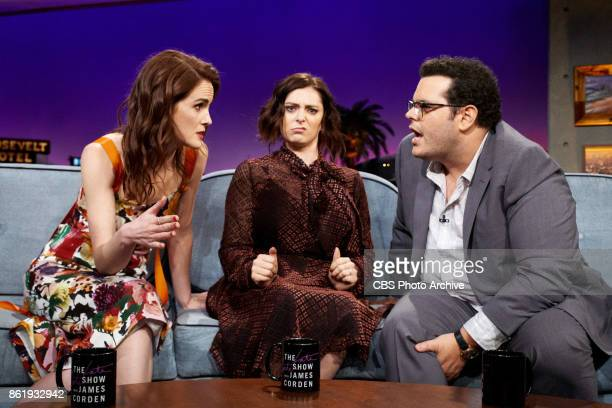 Michelle Dockery Rachel Bloom and Josh Gad chat with James Corden during The Late Late Show with James Corden Wednesday October 11 2017 On The CBS...