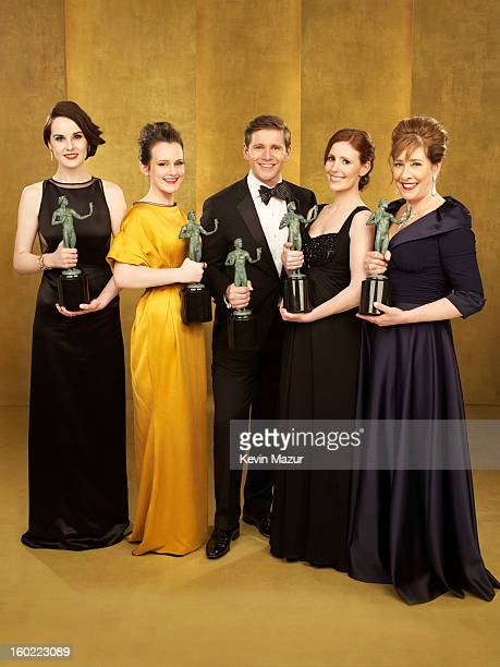 Michelle Dockery Sophie McShera Allen Leech Amy Nuttall and Phyllis Logan pose during the 19th Annual Screen Actors Guild Awards at The Shrine...