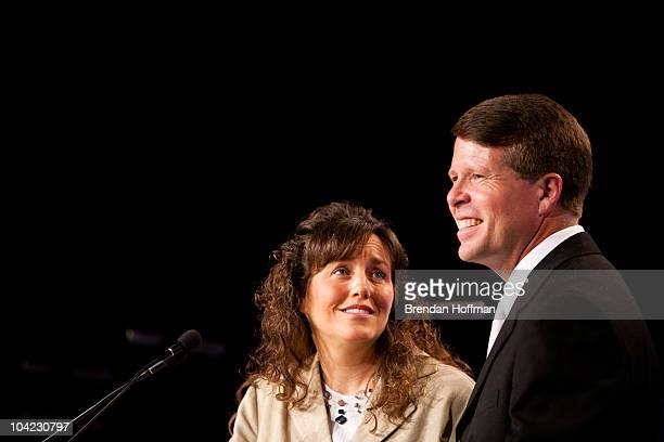 """Michelle Duggar and Jim Bob Duggar of The Learning Channel TV show """"19 Kids and Counting"""" speak at the Values Voter Summit on September 17, 2010 in..."""