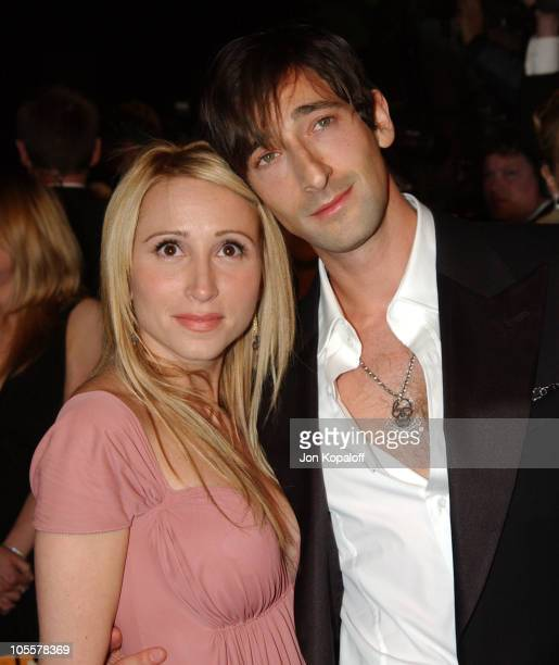 Michelle Dupont and Adrien Brody during 2005 Vanity Fair Oscar Party at Mortons in Los Angeles, California, United States.