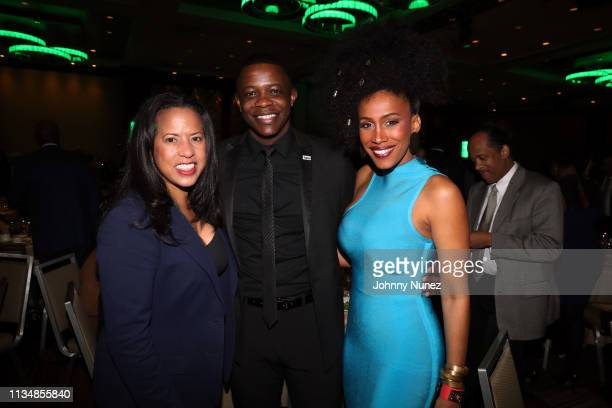 Michelle Ebanks honoree James Shaw Jr and MoAnA Luu attend the 2019 National Action Network Keepers Of The Dream Awards at the Sheraton Times Square...