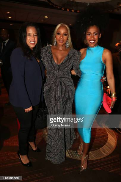 Michelle Ebanks Mary J Blige and MoAnA Luu attend the 2019 National Action Network Keepers Of The Dream Awards at the Sheraton Times Square on April...