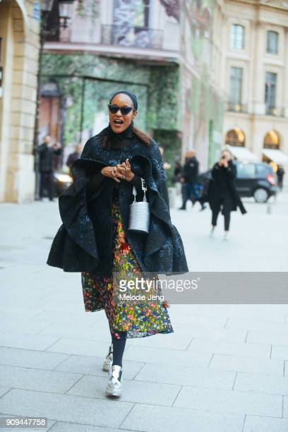 Michelle Elie outside the Ulyana Sergeenko show at Place Vendome on January 23 2018 in Paris France