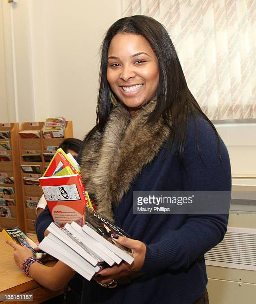 Michelle Epps attends the Michael and Mechelle Epps Foundation Media Day at the Crispus Attucks Medical Magnet High School on February 3 2012 in...