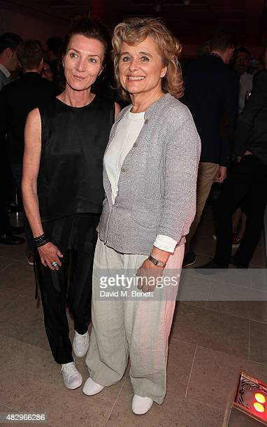 Michelle Fairley and Sinead Cusack attend the after party following the press night performance of Splendour playing at the Donmar Warehouse at The...