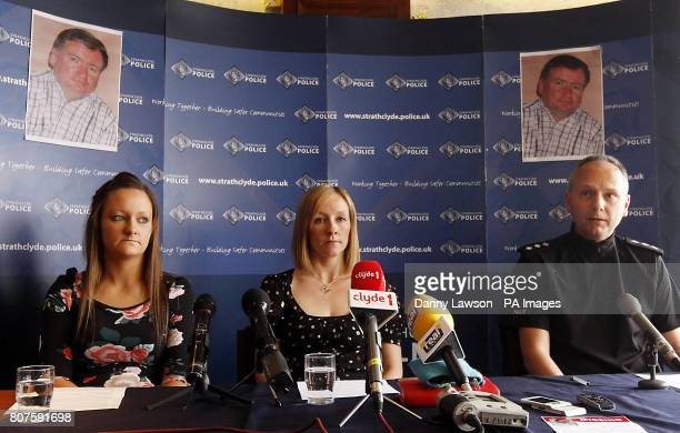 Michelle Ferguson and Lorraine Fleming nieces of missing man Colin Ferguson with Inspector Neil Kerr during a press conference at East Kilbride...