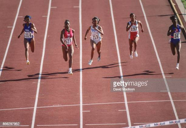 Michelle Finn Carlette Guidry Evelyn Ashford Sheila Echols and Gwen Torrence all of the USA run the final of the Women's 100 meter race during the...