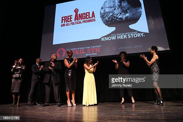 Michelle GadsdenWilliams Quincy Newell Jeff Clanagan Sidra Smith Jada Pinkett Smith Angela Davis and Shola Lynchattend the Free Angela and All...