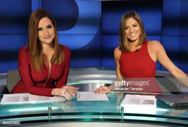 Michelle Galvan and Pamela Silva are seen on the set of Primer Impacto at Univision's Newsport Studios on March 13 2017 in Miami Florida