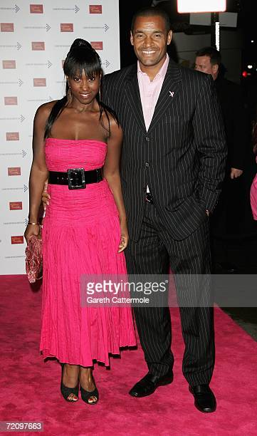 Michelle Gayle and Mark Bright arrive at A Touch Of Pink Party VIP Fundraising Party at Madame Tussauds on October 05 2006 in London England