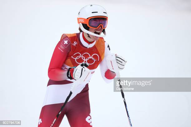 Michelle Gisin of Switzerland celebrates at the finish during the Ladies' Alpine Combined on day thirteen of the PyeongChang 2018 Winter Olympic...