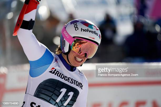 Michelle Gisin of Switzerland celebrates during the Audi FIS Alpine Ski World Cup Women's Super G on December 8 2018 in St Moritz Switzerland