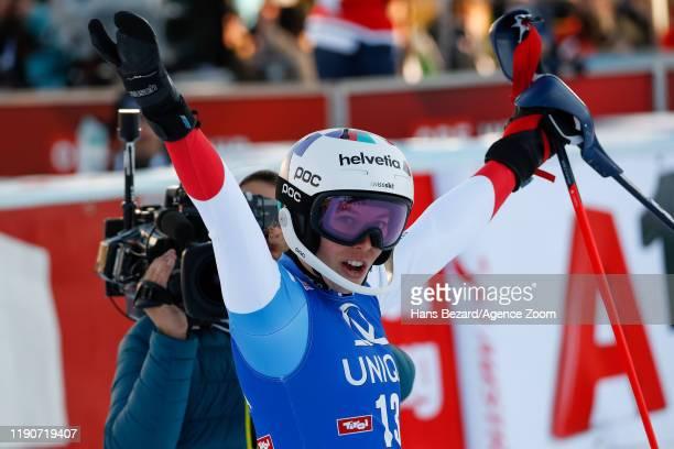 Michelle Gisin of Switzerland celebrates during the Audi FIS Alpine Ski World Cup Women's Slalom on December 29 2019 in Lienz Austria
