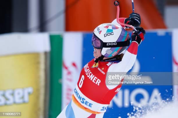 Michelle Gisin of Switzerland celebrates during the Audi FIS Alpine Ski World Cup Women's Downhill on January 11 2020 in Zauchensee Austria