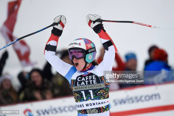 Michelle Gisin of Switzerland celebrates during the Audi FIS Alpine Ski World Cup Women's Super G on March 3 2018 in CransMontana Switzerland