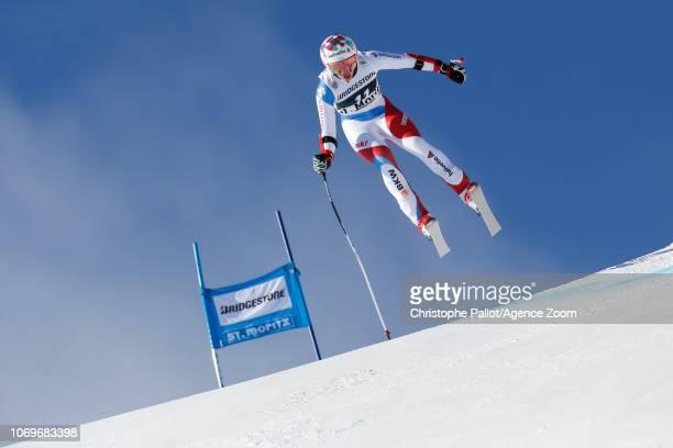 Michelle Gisin of Switzerland competes during the Audi FIS Alpine Ski World Cup Women's Super G on December 8 2018 in St Moritz Switzerland