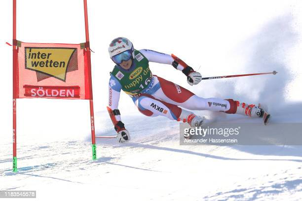 Michelle Gisin of Switzerland competes during the Audi FIS Alpine Ski World Cup - Women's Giant Slalom at Rettenbachferner on October 26, 2019 in...