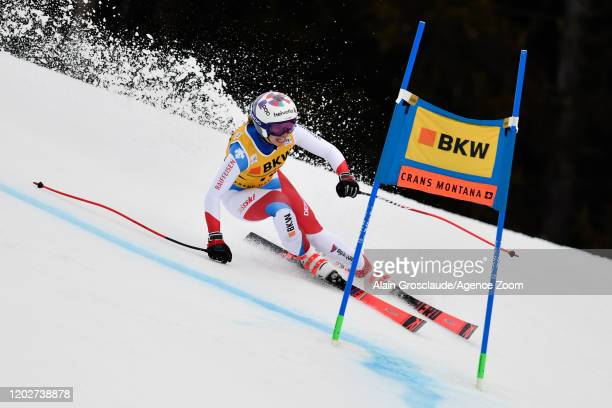 Michelle Gisin of Switzerland competes during the Audi FIS Alpine Ski World Cup Women's Alpine Combined on February 23 2020 in Crans Montana...