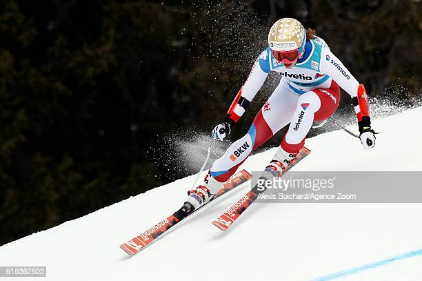 Michelle Gisin of Switzerland competes during the Audi FIS Alpine Ski World Cup Women's Super Combined on March 13 2016 in Lenzerheide Switzerland